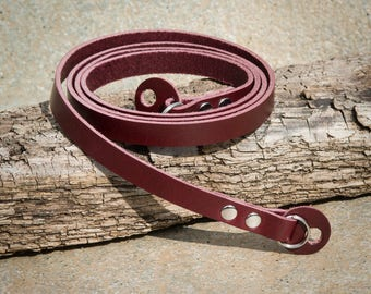 10mm Rich Burgundy Leather Camera Strap