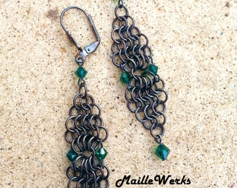 Emerald Green Swarovski Austrian Lead Crystal Micro Chainmaille Earrings / Emerald Green May Birthday Wedding Anniversary Earrings Jewelry