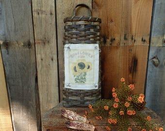 Handwoven Sunflower Wall Basket