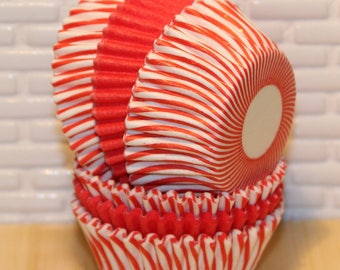 MINI Red Striped & Solid Cupcake Liners (Qty 40) Mini Red Striped Baking Cups, Mini Red Cupcake Liners, Mini Red Striped Baking Cups