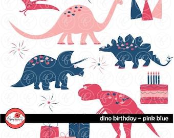 Dino Birthday Pink & Blue - Clip Art Pack (300 dpi transparent png) Card Making Digital Scrapbook Dinosaur Blue Pink Girl Birthday
