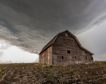 Barn Art Print - Fine Art Photo of Old Barn as Storm Approaches in Southern Nebraska Country Wall Art Farming Decor Gift for Mothers Day