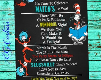Seuss Inspired Birthday Invitation; Printable; Cat In The Hat; Thing 1 and Thing 2 Birthday; Seuss Party; First Birthday; Digital File;
