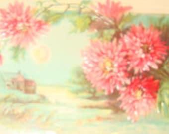 SALE Pretty Vintage Fmbossed Floral/Sceanic Postcard # 5