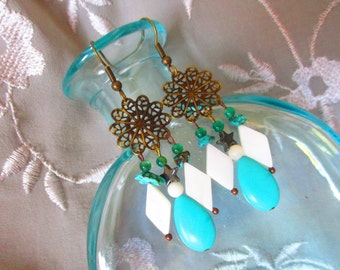 Bohemian turquoise chandelier earrings, antique gold turquoise, white fluorite chandelier earrings