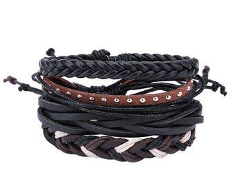Braided men's leather bracelets