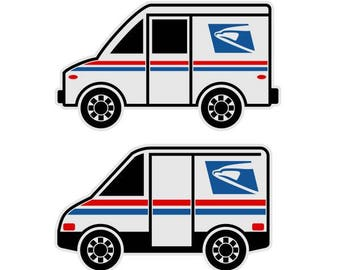 Mail truck decal | EtsyUsps Delivery Truck Clipart