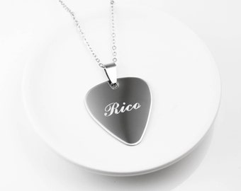 Personalized Guitar Pick Necklace - Engraved Necklace - Gift For Guitar Player - Gift For Guitarist - Stainless Steel Necklace - Guitar Pick