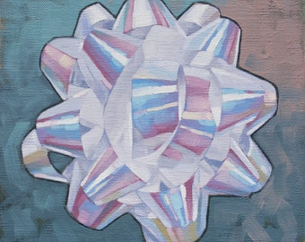"Iridescent RainBow Painting, Original Small Oil Painting of White Gift Bow, Star Bow, Geometric Painting - ""Iridescent RainBow Mandala"""