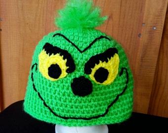 Grinch Hat, Sizes Infant-Adult, Christmas Hat, Christmas Grinch, Crochet Grinch Hat, Handmade Crochet, Infant Grinch Hat, Holiday Hat