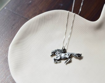 Horse Necklace, Wild Horse Silver Necklace, pewter horse pendant and sterling silver necklace, Wild Horses R Meant To Be Free