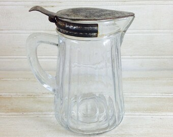 Vintage Metal Topped Glass Syrup Pitcher