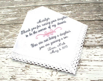 Mother of The Bride Hankie  - WOMAN of my Dreams - You are NOT LOSING  a daughter  - Mother of the Bride with Motif- Hankie - Hanky
