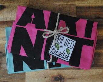 2x Make Art Not War, Pink Blue, Cotton, Hand Made, Screen Printed, Tea Towel, Dish Towel, Set of Two