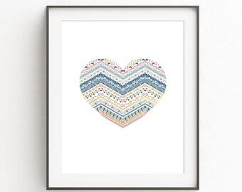 Nursery Printable, Nursery Wall Art, DIGITAL DOWNLOAD, Boho Heart, Kidsroom Prints, Baby Girl Room, Baby Boy Room, Babyshower Gift, Cute Art