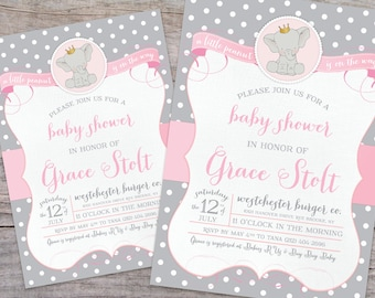 Little Peanut Elephant Baby Shower Invitation with Free Shipping or Personalized Printable