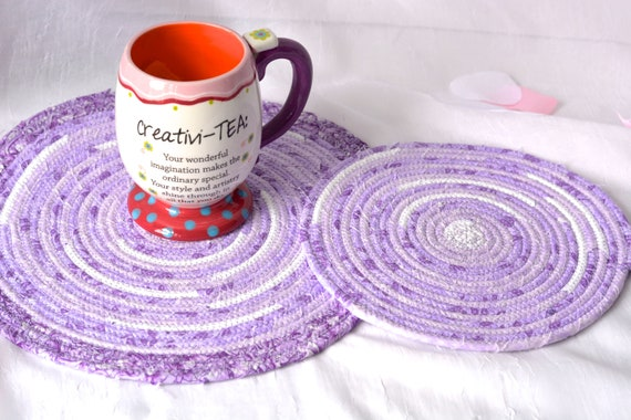 Violet Floral Trivets, 2 Handmade Violet Fabric Hot Pads, Lavender Mug Rugs, Lovely Lilac Table Toppers, Purple Potholders