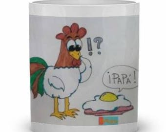 Mug with rooster and fried egg.