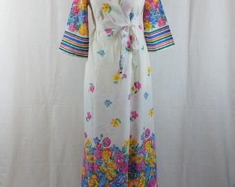 Vintage 1960/70s Cotton Floral Maxi Robe Wrap Dress