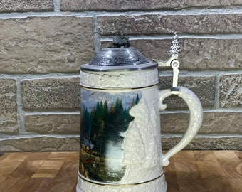 """Longton Crown Limited Edition Thomas Kinkade """"A Quiet Evening at River Lodge"""" Stein"""
