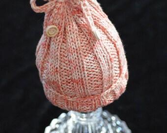 Hat/bonnet Pixie DrawString for baby 0-1 month, pink Heather beige