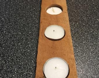 Recycled Oak Barnwood Candle Holder
