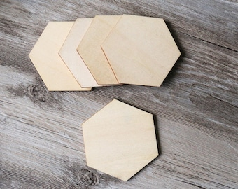 Unfinished wooden Hexagon Cut Outs,plain shape for Scrapbooking ,DIY Crafting Wood laser cut tags