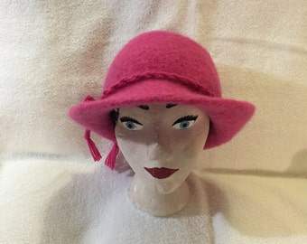 Pink 100% wool felted hat with cord