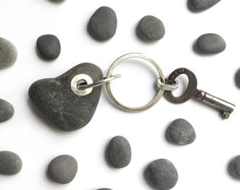 Heart Shaped Natural Lake Erie Beach Stone Sterling Silver Riveted Key Ring Vintage Key Split Ring Love Gift Key Chain Large