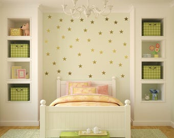 Gold vinyl star wall decal sticker wall art, Gold star decals for baby nursery wall, gold confetti stars, Star wall decals, star stickers