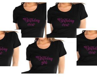 BLING Birthday Crew Group of 4+ Custom Glam Birthday Bedazzled Shirt