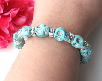 skulls and rhinestones bracelet - bohemian chic jewelry - turquoise pink blue and white skull bracelet - arm candy - friendship bracelet