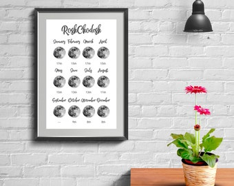 2018 Rosh Chodesh Calendar Printable