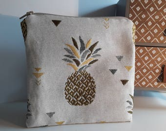 Pouch, travel makeup bag, pineapple