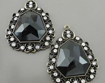 Art Deco Black Antique Brass Jewelry Drop Pendant Chandelier Earring Crystal Finding Charms