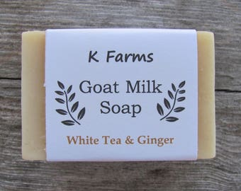 All Natural Goat's Milk Soap, White Tea & Ginger Scented, Made in USA