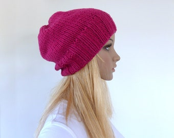 Pink Beanie Womens pink knit hat Chunky Knit slouch beanie merino