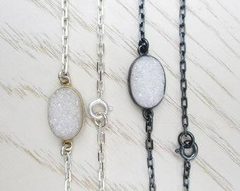 White oval druzy bracelet in shiny or oxidized sterling silver chain, oval coated druzy stone bracelet, minimal aura crystal bracelet