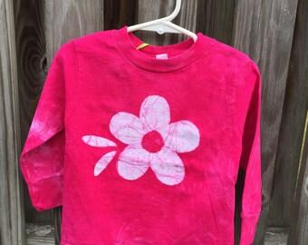 Toddler Girls Shirt, Pink Girls Shirt, Flower Girls Shirt, Hot Pink Girls Shirt, Pink Flower Shirt, Toddler Girls Birthday Gift (2T)