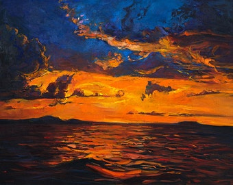 Seascape2 Original oil, Landscape Painting Original Art Impressionistic OIl on Canvas by Ivailo Nikolov