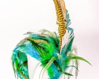 """Feather fascinator hat """"Memories of Bali""""/ Шляпка-накладка с перьями """"Воспоминания о Бали"""""""
