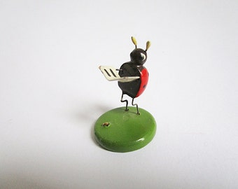 Vintage wood ladybug figure, ladybird miniature collectible figure from the Erzgebirge, German vintage