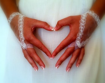 Ivory Bridal Gloves,Wedding Gloves,Fingerless Wedding Gloves,Lace Wedding Gloves,Fingerless Bridal Gloves,Vintage Bridal Gloves,Short Gloves