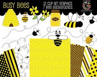 Bee Clip Art Bumble Bee Clipart Digital Bee Bee Digital Paper Honey Bee Clip Art Honeycomb Paper Kids Party Paper - Instant Download