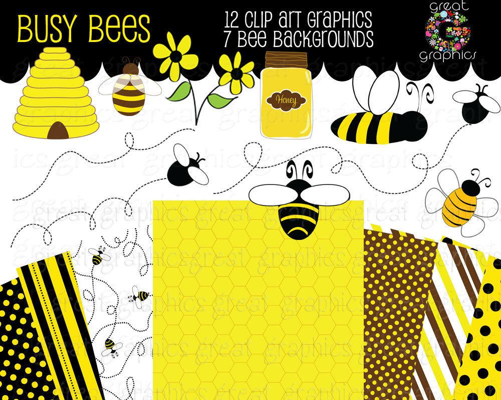 Bee Clip Art Bumble Bee Clipart Digital Bee Bee Digital Paper