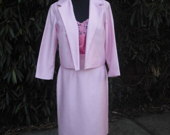 Vintage 1970s Suit, Career Suit, Jr. Theme Original, PINK Suit, Academia, Easter, Spring, Summer Fashion, Medium