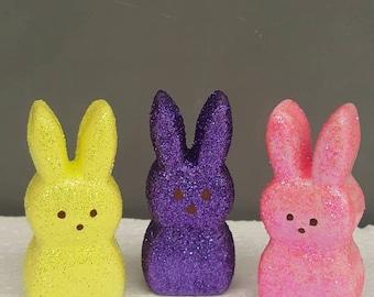 Ceramic Peeps - Ceramic Marshmallow Bunnies - 3 Easter Bunnies - Bunnies - Glitter Bunny Decoration -Easter - Easter Bunny - Easter Basket
