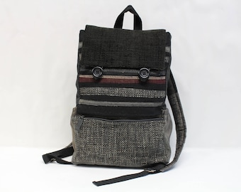 Black textile backpack, dark gray upcycled handmade pachwork backpack with a three pocket on the front,