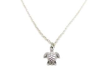 Turtle Necklace, Sea Turtle Necklace, Charm Jewelry, Charm Necklace, Turtle Pendant, Tortoise Jewelry, Jewelry Gift, Tiny Turtle Necklace