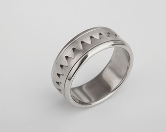 Men's Triangle Ring Cool Band, Zig Zag Stainless Steel Band Jaws Ring Chevron Ring Modern Urban Male Ring, Size 11
